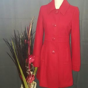 Tulle Jackets & Blazers - Tulle Wool Blend Coat, Red