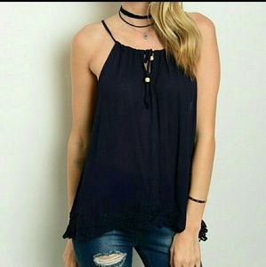 Navy Laced Trimmed Tank