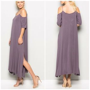 Fabfindz Dresses & Skirts - Purple Taupe Cold Shoulder Maxi Dress