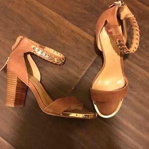 Elaine Turner Shoes - Elaine Turner cognac leather gold strap heels