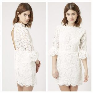 TopShop Ivory Bell Sleeve Lace Dress
