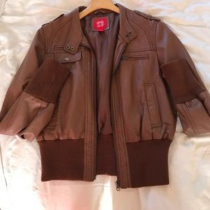 Collection B Jackets & Blazers - Brown leather bomber jacket