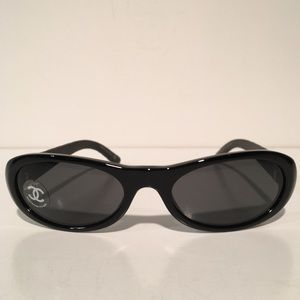 CHANEL Accessories - Chanel Black Leather Oval Sunglasses