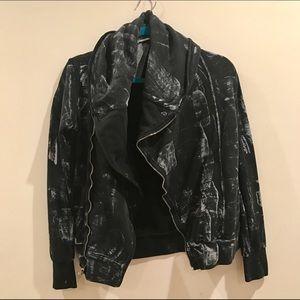 Young Fabulous & Broke Sweaters - Young Fabulous & Broke Black Zip Up Jacket Sweater