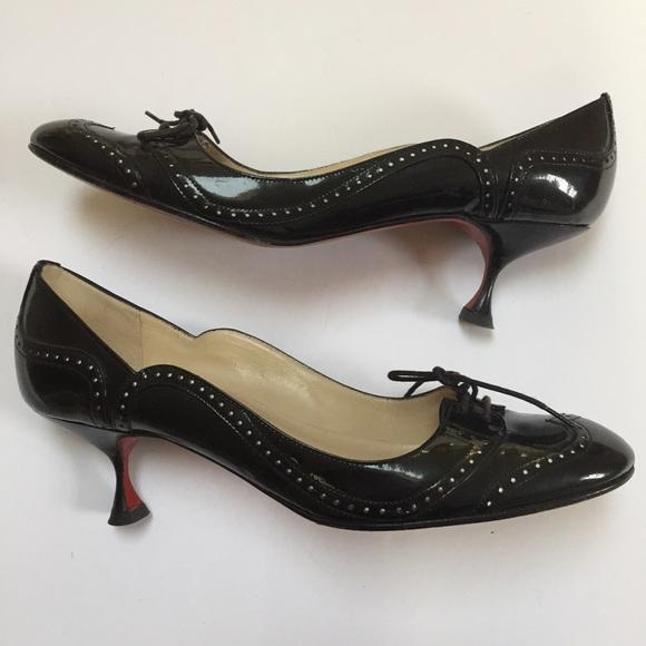 info for d53f7 2fdef Christian Louboutin Black Patent Kitten Heels