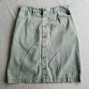 Vintage Dresses & Skirts - Vintage Army Green Button-Up High Waisted Skirt