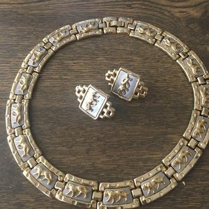 Jewelry - Vintage 80s cougar choker and clip on earrings set