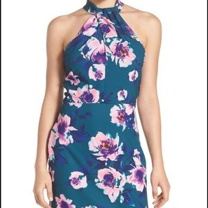 Charles Henry Dresses & Skirts - Charles Henry Teal Floral Halter Dress