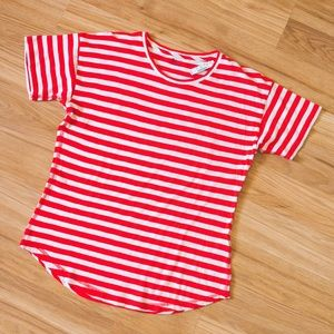 Madewell red & white stripe tee