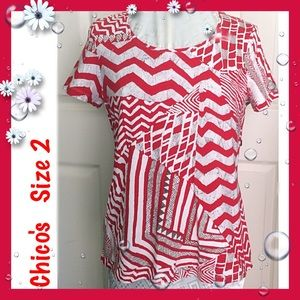 Chico's Tops - Chico's / Abstract Print Short Sleeve Top / Large