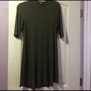 Green mock neck turtle dress