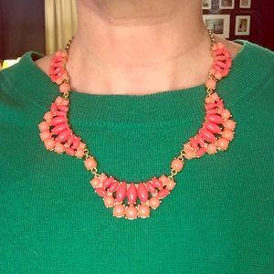 Pink and orange bib necklace