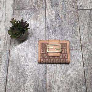 Fendi Handbags - FENDI zucca bifold tan wallet authentic