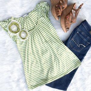 Olivia Moon Tops - Olivia Moon Striped Green & White Flower Shirt S