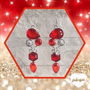 Jewelry - ❤️Red gemstone sterling silver chandelier earrings