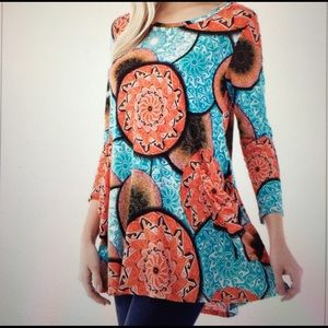 Tops - Tunic Boho Ethnic Tribal Geo style Top