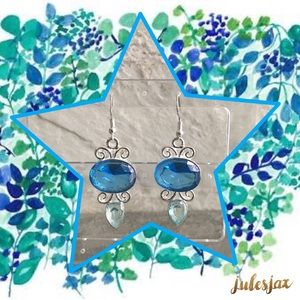 Volunteer Charm Jewelry - BLUE GEMSTONE STERLING SILVER CHANDELIER EARRINGS