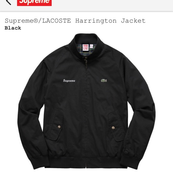 newest 89876 39a76 Supreme X Lacoste Black Harrington Jacket Medium