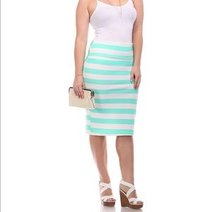 Dresses & Skirts - Mint and White Stripe Pencil Skirt