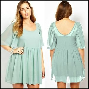 Dresses & Skirts - Mint Angel Sleeve Mini Dress PLUS