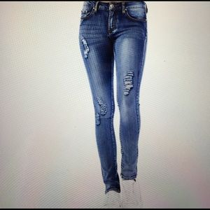 Denim - Dark blue stretch jeans distressed Must Have❤️
