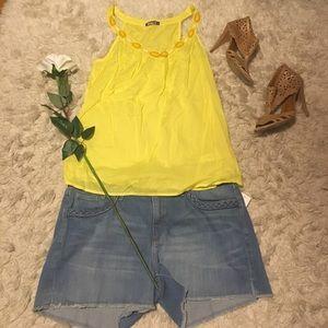 Tops - Yellow Beaded Summer Tank 🌻