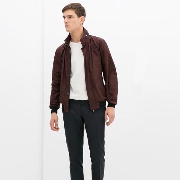 hot sales a543a e63bc ZARA Man Burgundy Windbreaker Jacket