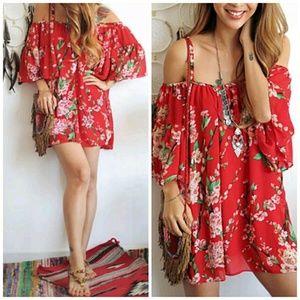 Moda Ragazza  Dresses & Skirts - ❗1 HR SALE❗Beautiful Red Floral Chiffon Mini Dress