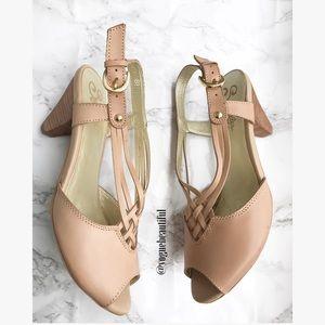 Seychelles Shoes - Seychelles Woven Leather Light Pink Heels