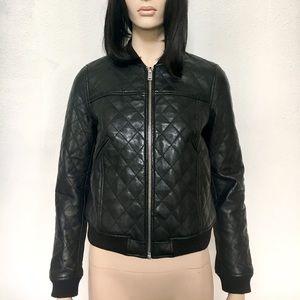 Zara Basic quilted leather bomber jacket