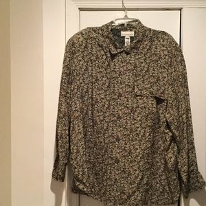 Ladies navy with sage floral button down blouse