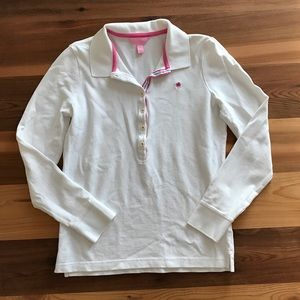 Lilly Pulitzer Long Sleeved White Polo Shirt
