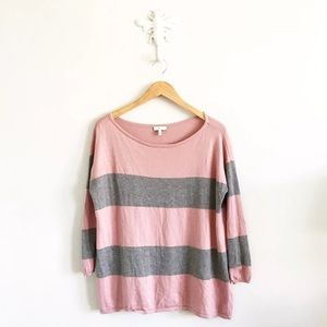 Joie Sweaters - Joie Gray & Pink Striped Wool & Cashmere Sweater