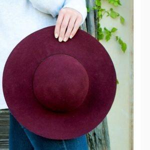 Accessories - Wool Floppy Hat - Wine