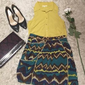 Tops - Yellow High Low top with Gold buttons