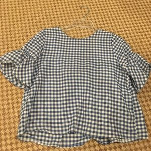 Blue gingham ruffle bell sleeve top size M