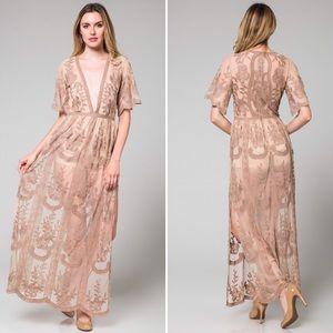 a46a32e97564 Honey Punch Dresses - Mocha Lace Maxi Romper