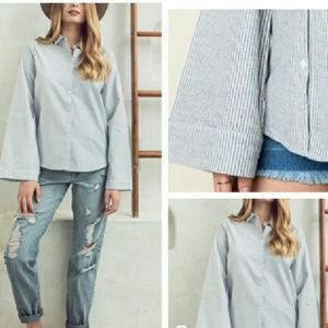 Tops - Stripe Bell Sleeve Collared Shirt