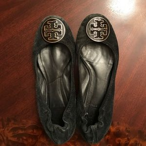 Tory Burch , Black Suede Flats, Size 8