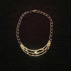 Gold Chain Bib Necklace