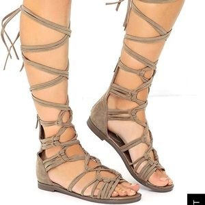 Lulu's Shoes - Beige Lace up gladiator sandals