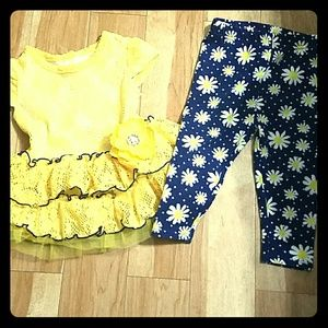 Youngland Other - Girls 18 month Yellow Blue Flower Top Pants Set