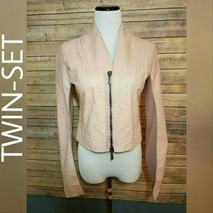 Twin-Set Jackets & Blazers - RARE!  TWIN SET SIMONA BARBIERI Blush Moto Leather