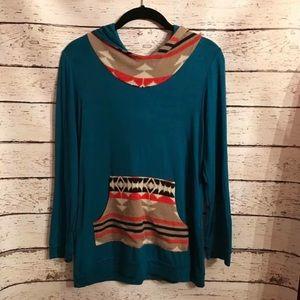 Aztec print teal hoodie