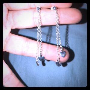 alloy Jewelry - Very beautiful 925 silver dangling heart earrings