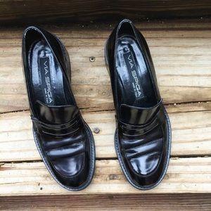 Via Spiga Shoes - Via Spiga Black Classic Loafer leather