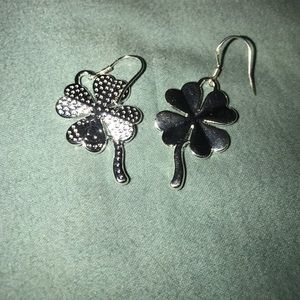 alloy Jewelry - 925 real silver four leaf clover earrings