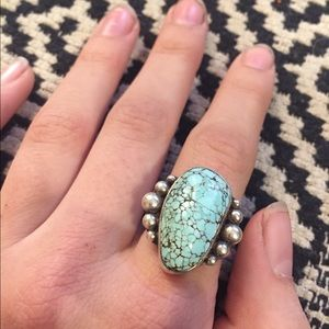 Vintage Jewelry - Pale Turquoise Sterling Silver Ring.