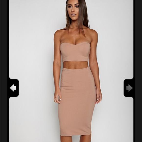 7c061ae6486d Missguided Dresses | Tan Two Piece Crop Dress | Poshmark