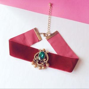 boutique Jewelry - Red velvet Choker necklace crystal gem